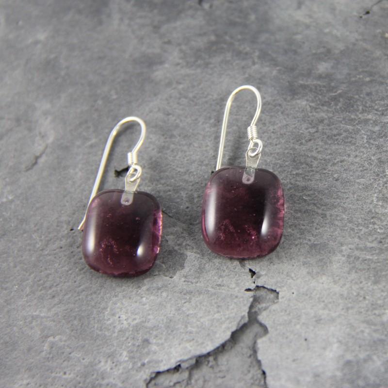 Boucles d'oreilles en verre de Murano pourpre