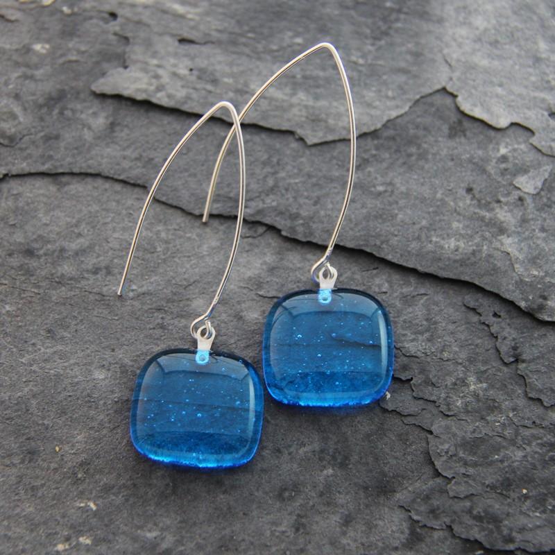 Boucles d'oreilles longue bleues azur en verre de Murano